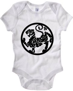 Body Neonato Bianco TAM0163 shotokan tiger black on white hooded sweatshirt