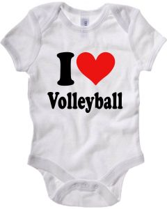 Body Neonato Bianco TLOVE0010 i heart volleyball