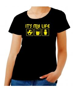 T-shirt Donna Nero T0007 IT IS MY LIFE CALCIO calcio ultras