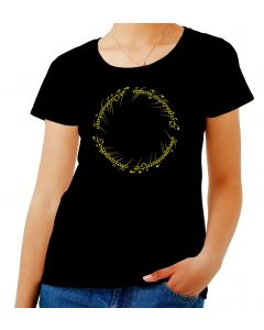 T-shirt Donna Nero T0678 LORD OF THE RING FRASE ELFICA ANELLO film inspired