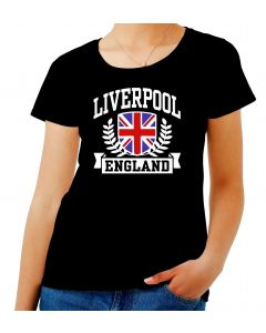 T-shirt Donna Nero TSTEM0183 liverpool england fitted da