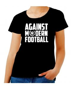 T-shirt Donna Nero TUM0161 AGAINST MODERN FOOTBALL