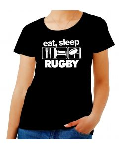 T-shirt Donna Nero WES1120 EAT SLEEP RUGBY