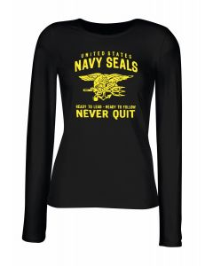 T-shirt manica lunga Donna Nera TM0432 navy seals never quit