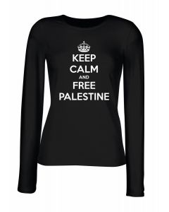 T-shirt manica lunga Donna Nera TM0571 keep calm and free palestine 1
