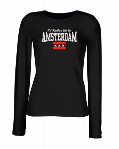 T-shirt manica lunga Donna Nera TSTEM0177 id rather be in amsterdam