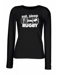 T-shirt manica lunga Donna Nera WES1120 EAT SLEEP RUGBY