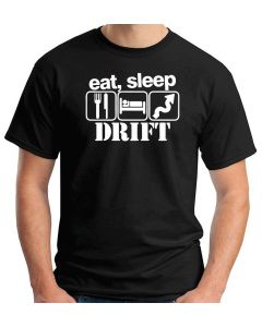 T-shirt Uomo Nero TB0251 Eat Sleep Drift Funny Car