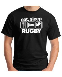 T-shirt Uomo Nero WES1120 EAT SLEEP RUGBY