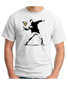 T-shirt Uomo Bianco TR0010 Banksy Flower Thrower Street Art Stencil