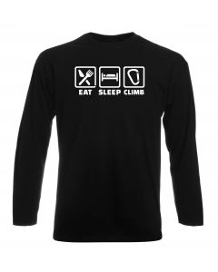 T-shirt manica lunga Uomo Nera DEC0065 EAT SLEEP CLIMB