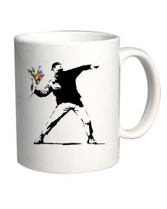 Tazza 11oz Bianca TR0010 Banksy Flower Thrower Street Art Stencil