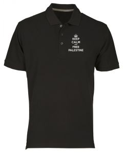 Polo Uomo Nero TM0571 keep calm and free palestine 1