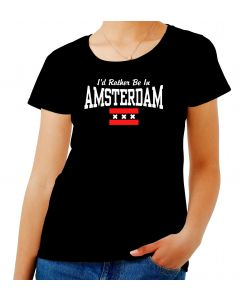 T-shirt Donna Nero TSTEM0177 id rather be in amsterdam