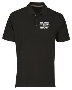 Polo Uomo Nero WES1120 EAT SLEEP RUGBY